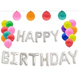GoFriend Happy Birthday Balloons Banner Bunting Hanging Alphabet Balloons Banner Balloons Letters Aluminum Foil Balloon for Birthday Party Decorations 16-inch – Bonus 20pcs Party Balloons