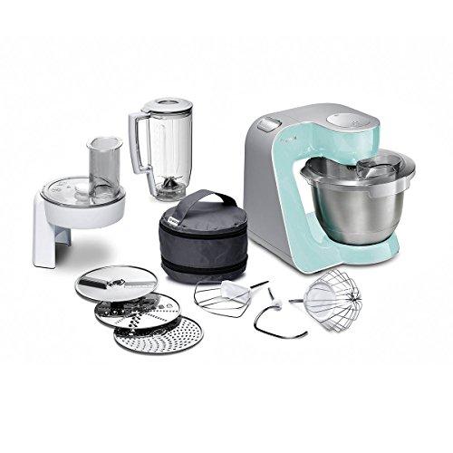 Bosch MUM58020 Küchenmaschine CreationLine, 1000 W, 3,9 l Edelstahl-Rührschüssel, 3D Rührsystem, 7 Schaltstufen, turquoise/silber