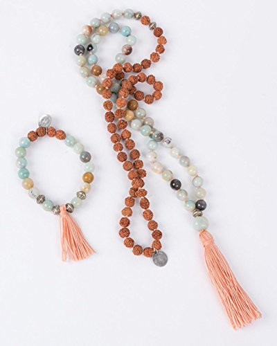 """VIO YOGA® • Mala Set """"Sweet Pastel"""" • (Mala Kette und Armband) • Buddhistische Gebetskette mit echten natürlichen Edelsteinen aus Amazonit und Rudraksha Samen • Schmuck handgemacht in Deutschland"""