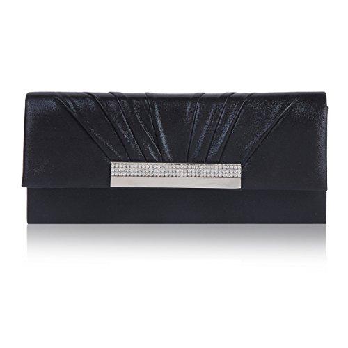 Damara® Damen Strassstein Magnetverschluss Faltig Abendtasche Schwarz
