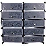 10 Cubes Diy Storage Plastic Shoe Cabinet (black)