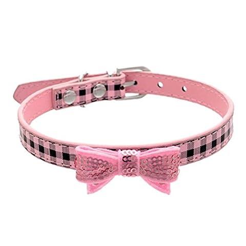 Accessoires Collier Pour Chien Kolylong Bling Sequin Bow Plaid Collier Pour Chien Puppy Choker Collier De Chat ( XS:30*1.5cm , Rose)