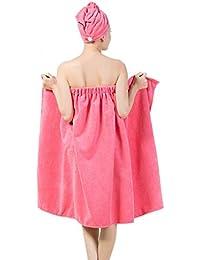 YJZQ Serviette de Bain Chapeau de sèche Cheveux Microfibre Bonnet de Bain Robe de Chambre 2 pour 1 Lot de Bonnet de Bain et Serviette de Bain Femme Vêtement de Chambre