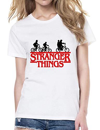 Stranger Things Shirt Damen, Teenager Mädchen Hawkins High School T-Shirts Frauen Upside Down Sommer Kurzarm Tshirts Sport Casual Blusen Shirt Oberteile Tops Hemd Sale (Weiß-4,M) -