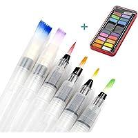 Farben mit Pinsel ,Tatuer 6 Stk Wasser Pinsel Aquarell Pinsel + 18 Farben Wasserfarben Aquarellfarben Set für Malerei ,Malen, Kalligraphie
