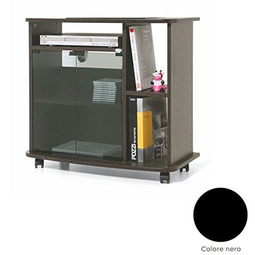 Carrello porta Tv nero Cm 81x40xH 73 con vetrina e ripiano laterale