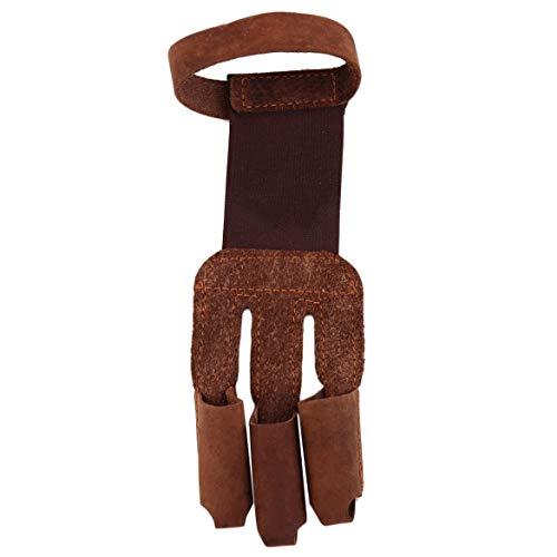 Verstärkte Fingerspitzen für ausgezeichneten Schutz Bogenschießen Schützen Sie Handschuh 3 Finger ziehen Bogen Pfeil Leder Schießhandschuhe - Braun