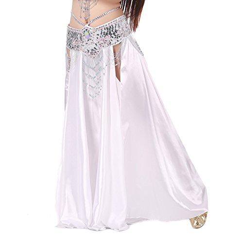 Calcifer Satin Lang Swing Bauch Dance Rock kostüm Dancing Kleid Dancewear für Frauen Professional Tänzerin, (Kostüme Weißes Dance Kleid)