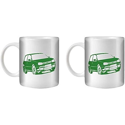 STUFF4 Taza de Café/Té 350ml/2 Pack Verde/VW Golf GTI Mk4/Cerámica Blanca/ST10