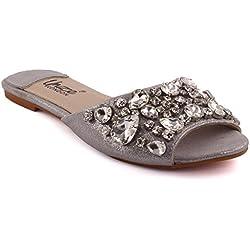 Unze New Women Damen 'Emilio' Kristall Diamante geschmückt Peep-Toe niedrigen Ferse Abend, Hochzeit, Prom & Party Pump Flache Schuhe Größe 3-8 - 7015-8
