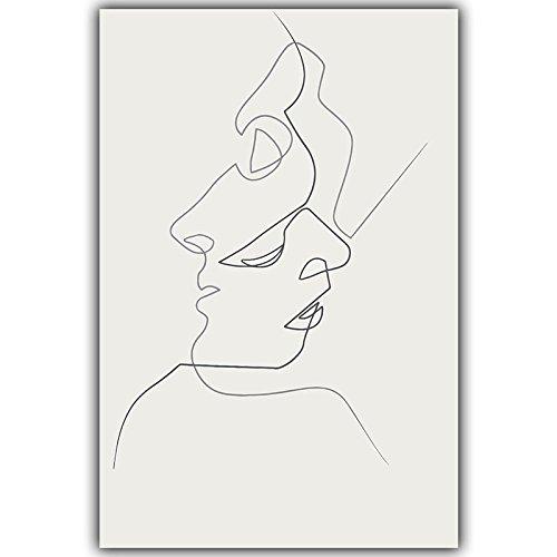 HY&GG Picasso Einfache Linie Kurve Schwarz Weiß Abstrakt Leinwand Gemälde Kunstdruck Poster Bild Wanddekoration Moderne Wohnkultur, A4 21 X 30 Cm Ohne Rahmen, 3 Kiss Poster Abstrakte Gemälde