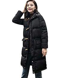 Sylar Abrigos Larga Mujer Invierno Talla Grande con Capucha Caliente Más Gruesa Abrigo Color Sólido Cremallera
