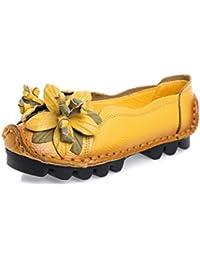 4d300fd28daab LnLyin Frauen Casual Schuhe aus echtem Leder Mokassins Bogen Loafer flache  Schuhe Gelb