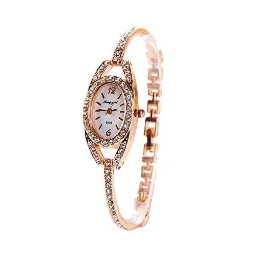 Damen Uhr Edelstahl Armband,Kimdera Armbanduhr Silber Quarz Mode Damenuhr Ultra-flach dünn Ultra Thin Dial (Rosegold)