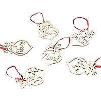tingtin Adorno de Madera Navidad - 6 Colgantes Enamorados Formas de corazón Adorno de Madera Árbol Rojo y una Escena Disposición Hueco de Doble Cara Decoración navideña