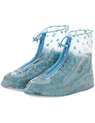 Oriskey 1Paar Regenüberschuhe Wasserdicht Schuhe Abdeckung Stiefel Flache Regen Überschuhe Regenkombi Schuhüberzieher Rutschfestem für Damen Mädchen
