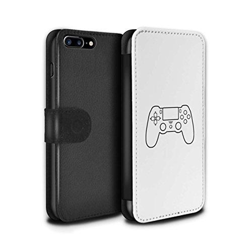 STUFF4 PU-Leder Hülle/Case/Tasche/Cover für Apple iPhone 8 Plus / Pack 20pcs Muster / Spielsteuerung Kollektion Weiß PS4