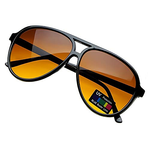 Kiss Sonnenbrille BLUE BLOCKER stil Aviatore mod. BLOW - gelben Gläsern vs. Licht Blau herren damen VINTAGE - SCHWARZ