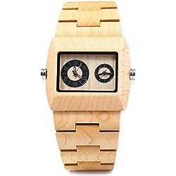Bewell ZS - W021C Reloj de Madera para Hombre Cuarzo y Analógico Movimiento Rectángulo Dial con Sub-dial(Arce)