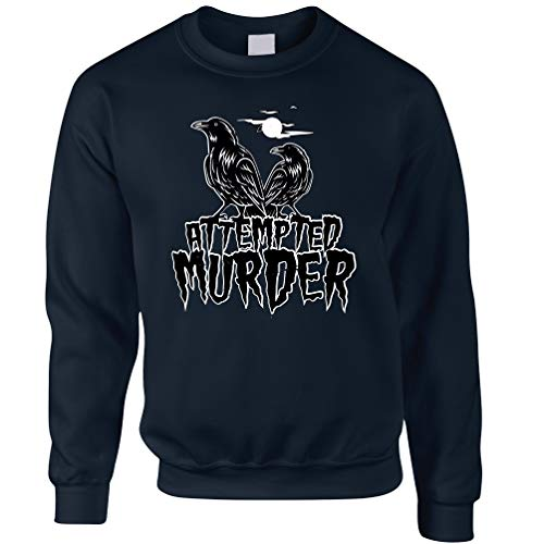 Tim And Ted Halloween Unisex-Pullover Mordversuch Crow Pun Navy Medium
