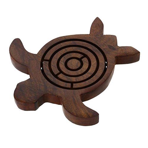Prisha India Craft Wooden Turtle Labyrinth Maze, 5.5 Inch