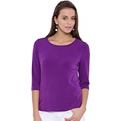 Avirate Round Neck Purple Solid TOP