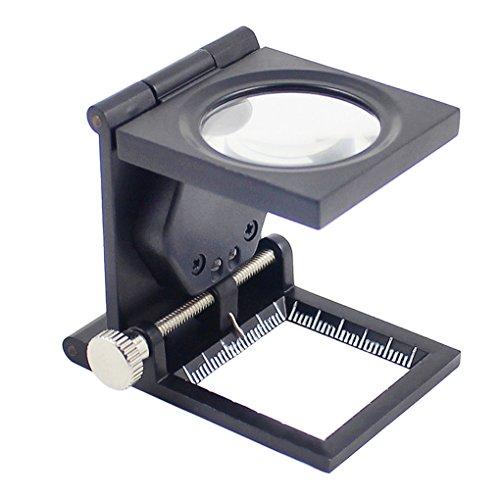 Standlupe 10X Fach Leselupe mit LED Beleuchtung Klappbare Tischlupe Arbeitslupe Vergrößerungsglas für Senioren, Inspektion, Reparatur, Handarbeiten und Hobby Schwarz