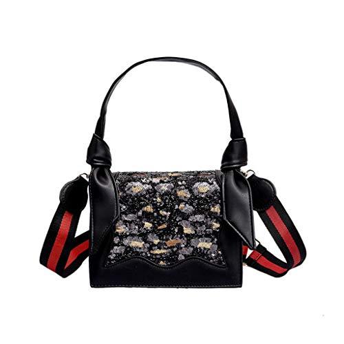 Damen Leopard Print Kontrast kleine quadratische Tasche, Mode Pailletten Cross-Bag Schultertasche Tote (Farbe : Schwarz, größe : M)