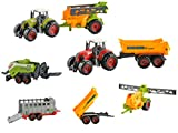 Iso Trade Farm Set 6 Teilig Landmaschinen Anhänger Kipper Heupresse Dünger Tiertransport