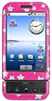 Amzer Stars Snap On Crystal Hard Case Compatible for HTC Dream G1 - Pink