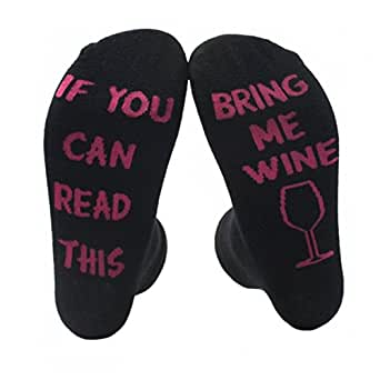 Himozoo Unisex Cotton Socks IF YOU CAN READ THIS BRING ME A BEER Socks (Black)