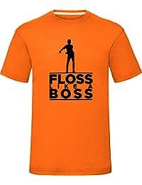 """Floss Like a Boss T-Shirt Boys Girls Kids Adults Tee Top Orange Medium (Chest 40"""")"""