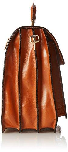 CTM-Beutel-Männer Aktenkoffer Aktentasche zur Arbeit, 41x31x18cm, 100% echtes Leder Made in Italy Orange (Cuoio)