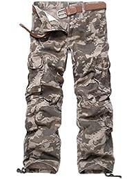 ZKOO Cargo Hose Arbeitshose Herren Baumwolle Lose Kampfhose Wanderhose Outdoor Freizeithose Stoff Hose Mit Multi Tasche Für Männe (ohne Gürtel)
