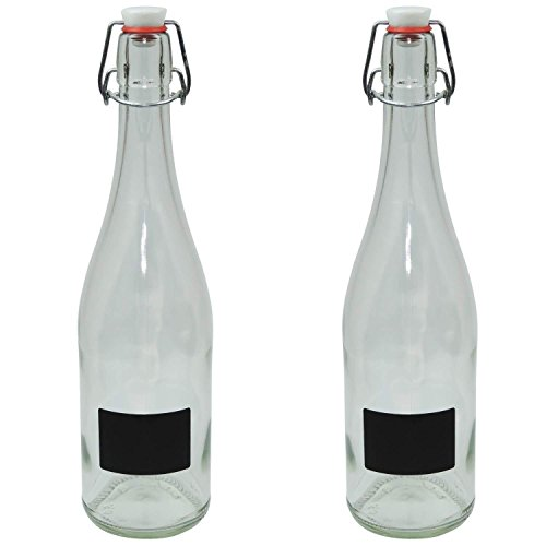 Glas Schnaps Flasche (2er Set Glasflasche 750 ml mit Porzellan-Bügelverschluss zum selbst befüllen inkl. Beschriftungsetikett)