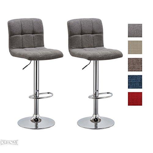 Barhocker 2x Barstuhl GRAU aus Stoff LEINEN, Drehstuhl, Tresenhocker (Typ 9-451Y) Bar Sessel, gut gepolstert, Bodenschoner, mit verchromten Griff, höhenverstellbar, gut gepolstert mit Lehne