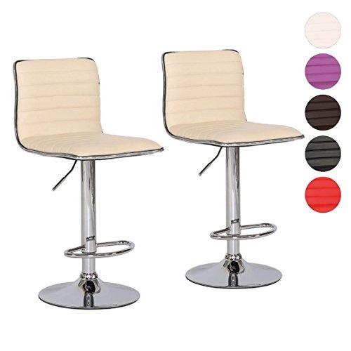 Barhocker 2er Set Tresen-Stuhl verchromter Stahl Kunstleder gepolstert höhenverstellbar Farbwahl...