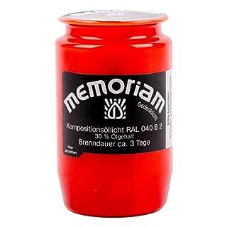 Memoriam Kompo Öllicht Nr. 33 - rot, weiß oder blau - 3 Tage Brenndauer - 20 Stück (rot)