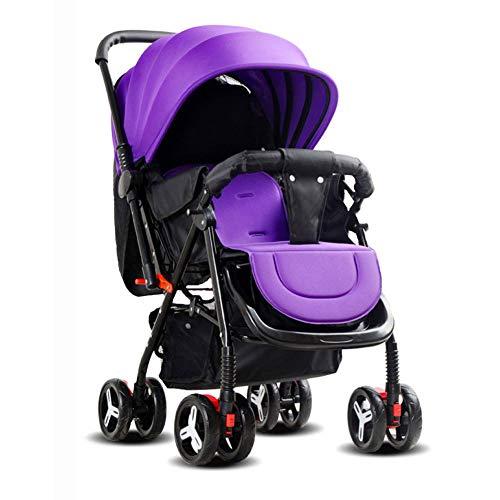 LLX Kinderwagen Newborn Baby Buggy Falten Zu Sitzen Und Hinlegen Damping Stroller Januar 5 Baby Double Two-Wheeler Rounds Zu Vermeiden Shake Buggy Kinderwagen Bike,Purple (Double Stroller Bike)