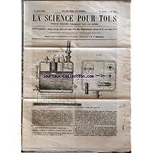 SCIENCE POUR TOUS (LA) [No 33] du 19/07/1860 - EXPOSITION DES MACHINES AGRICOLES (SUITE) PAR G. JOUANNE OPTIQUE (SUITE) PAR L. GIRAUD LA SAVOIE PAR R. CORTAMBERT APPAREIL RECHAUFFEUR PAR CH. LOILIER LES POISSONS VOLANTS PAR H. JOUAN ACADEMIE DES SCIENCES - FORMATION DE LA GLACE AU FOND DE L'EAU - THEORIE DE L'INDUCTION - PHENOMENE DE LA GRELE - PHOSPHORESCENCE DU FRENE A MANNE - ACTION DE L'IODE SUR LE CYANURE DE POTASSIUM - GROUPE DE LA MONTAGNE NOIRE - LA VISION - MESURE