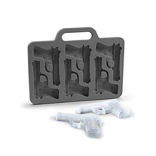 Goods & Gadgets 3D Eiswürfelform Pistole Eiswürfelbereiter Eiswürfelbehälter Form für 6 Pistolen Eiswürfel (Granate Schokolade)