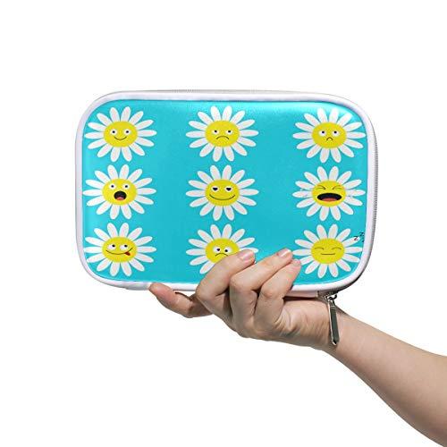 Funnyy Floral Daisy Emoji Gesicht, Federmäppchen, multifunktionaler Reißverschluss, Reisetasche, Make-up-Pinsel, Kosmetik Tasche, für Kinder, Study Woman Man Arbeit - Mikrofaser-daisy