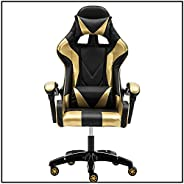 Yalla Office Adjustable Leather Gaming Chair - PC Computer Chair for Gaming, Dining, Office and Students with Ergonomic Design, Lumbar Support, High Back and Recliner Arms Headrest