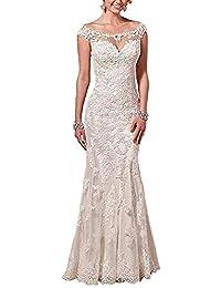ANJURUISI Vestidos de novia de encaje de la ilusi¨®n elegante de las mujeres