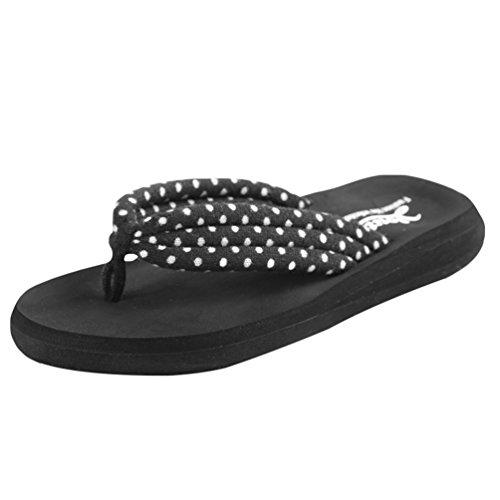 Yiiquan Donna Estate Sandali Pantofole Zeppa Infradito Spiaggia Sandali Nero Puntino