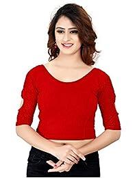 Fressia Fabrics Women's Stretchable Readymade Saree Blouse Crop Top Choli 174_RED