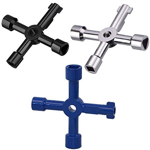 BESYZY 3pcs Elektrische Schrankschlüssel 4 Wege Multifunktionale Utilities Schlüssel für Elektrische Wasser Gas Meter Box Schrank (Schwarz、Blau、Silber) -