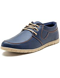 Iroo Men's Blue Synthetic Leather Casual Shoes