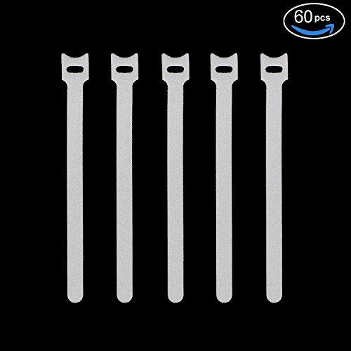 Pasow fissaggio e panno in microfibra cavo fascette strap Wire gestione, White, 6/7/8 Inch