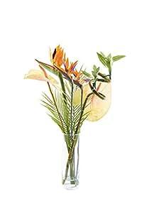 Peony 7327 - Composizione di fiori artificiale, con foglie di palma, canne di bambù e uccelli del paradiso, in vaso cilindrico